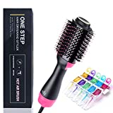 SanMoz One Step Hair Dryer & Styler & Volumizer – Upgrade Feature Anti-scald Negative Ion Rotating Hot Air Brush Straightener, Include 5pcs Plastic Alligator Hair Clips.