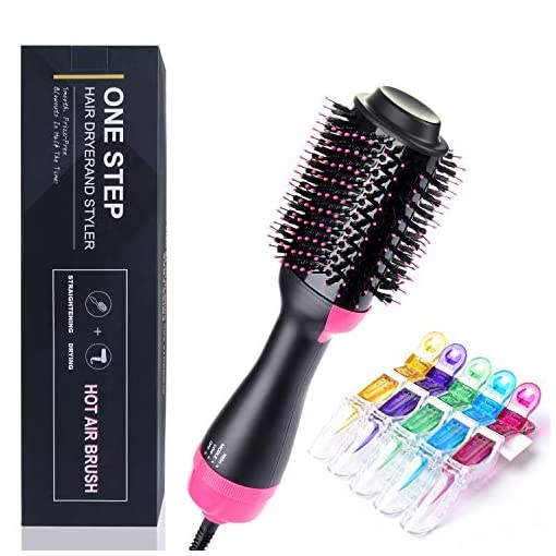 SanMoz Hair Dryer Brush - Adjustable Level-3 Wind & Temp, Features Anti-scald Negative Ion, Include 5pcs Plastic Hair-clips - 51VTsXNAqVL - SanMoz Hair Dryer Brush – One Step Hot Air Comb Styler & Volumizer