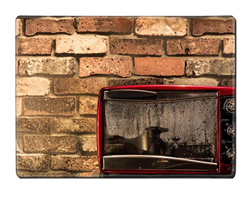 MSD Natural Rubber Placemat IMAGE 20867672 Vintage red oven with wallpaper