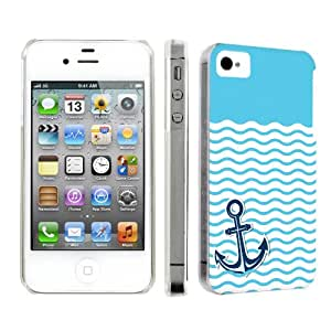 NakedShield Apple iPhone 4S / 4 [Nautical Anchor - Light Blue] Slim Art Phone Cover Case