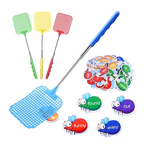 Gamenote Sight Words Swat Game - 220 Dolch Site Word with 4 Fly Swatter from Pre K to 3rd Grade Kindergarten Classroom (Include 10 Blank Flies and Activity Guide)