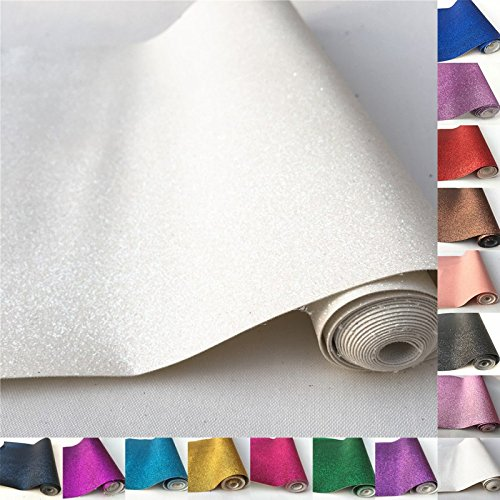 ZAIONE 16 Colors 10 x 53 (25cm x 135cm) Roll Sparkly Superfine Glitter Vinyl Fabric Fine Glitter PU Leather Canvas Back Material For Shoes Bag Sewing Patchwork DIY Bow Craft AppliqueOff White