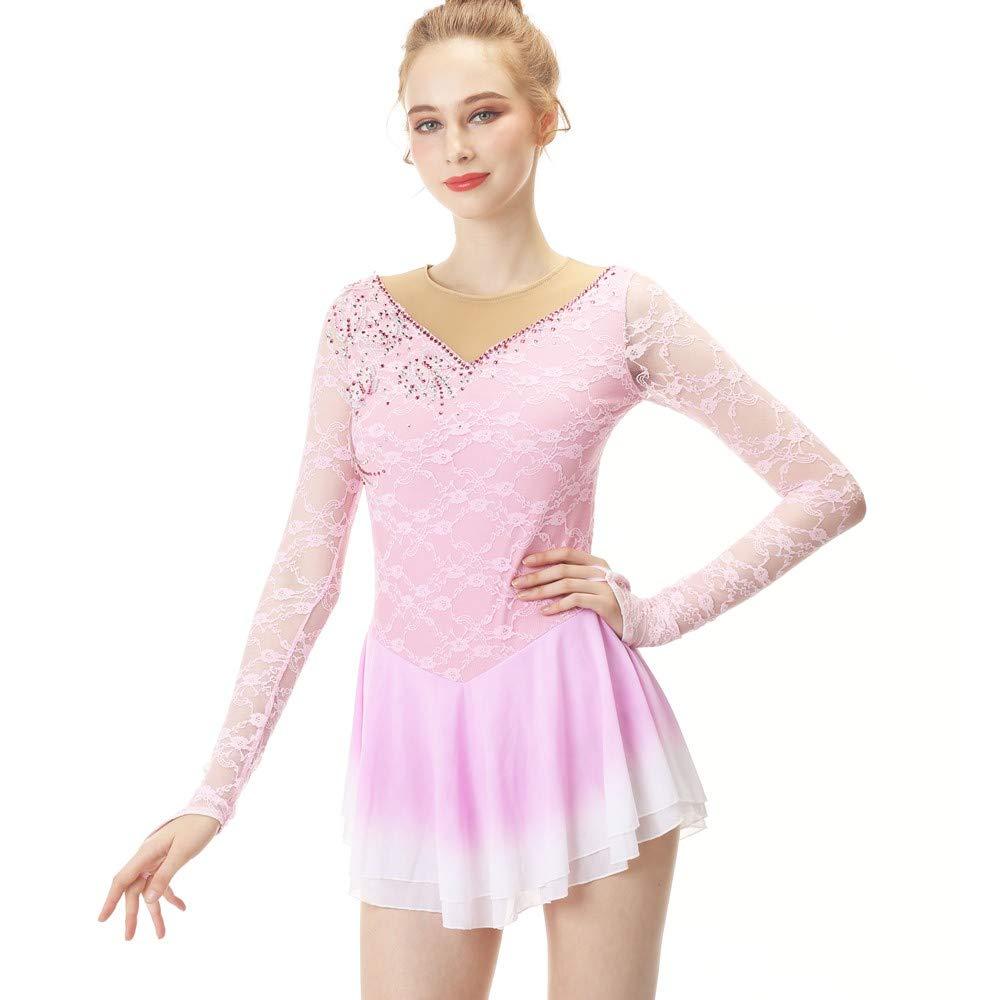 BINGHUOZHIWU Light Pink Figure Skating Dress Ice Skating Skirt Long-Sleeved