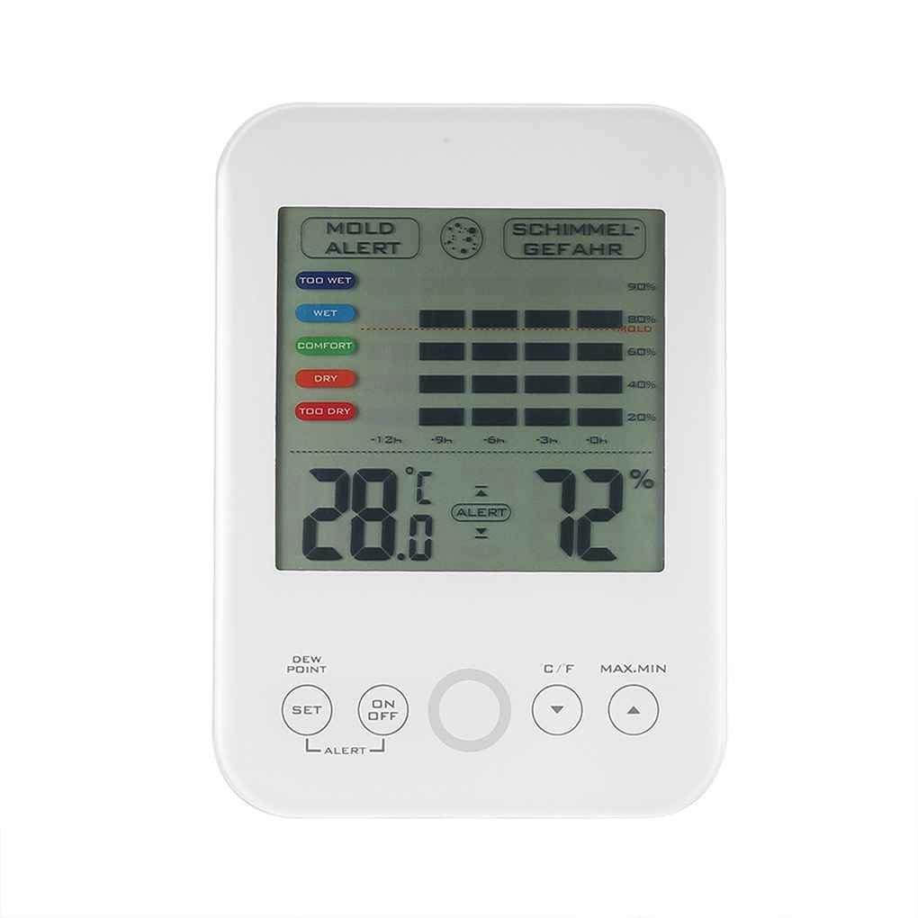 Laileya LCD digital de humedad relativa y temperatura de inicio del probador del metro de moldes Alerta Nivel de confort interior de la exhibició n Termó metro higró metro