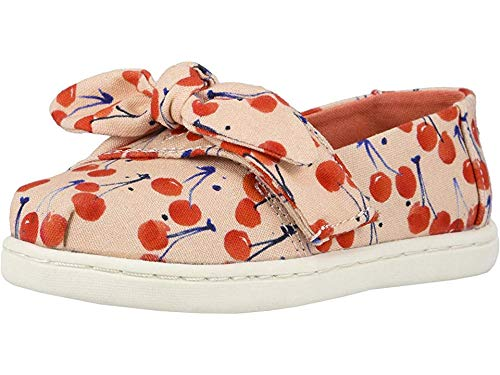 (TOMS Kids Baby Girl's Alpargata (Toddler/Little Kid) Coral Pink Cherry Cherie Print/Bow 9 M US Toddler)