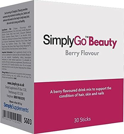 SimplyGo Beauty - Bebida a base de colágeno marino, MSM, biotina y ...