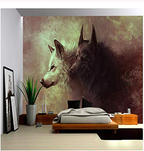 (3D Poster Photo Wallpaper Wolf Totem Wild Wall Painting Modern Living Room Study Bedroom Background Mural Wallpaper Roll-360x230cm)