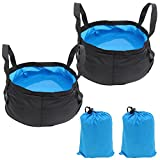Xcellent Global 2 Pack Lightweight Portable Outdoor Folding Basin Water Bag Wash Bucket for Camping Traveling Hiking Fishing 8.5L HG145