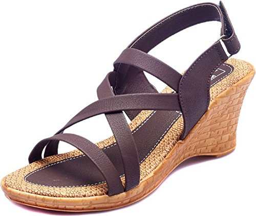 Dolphin Miles Women's Brown Synthetic Wedges Fashion Sandals