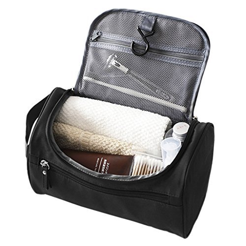 Portable Travel Cosmetic Makeup Bag Large Multi-layer Waterproof Zipper Toiletry Kit Bathroom Shower Wall Mount Hanging Toiletry Bag Case Caddy Organizer Storage Bag for Women Men Black