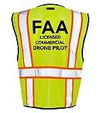 Kamal Ohava FAA Standard Drone Pilot Zip Up Reflective Safety Vest, Lime/Orange,2X/3X