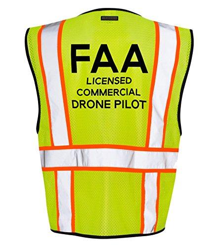 Kamal Ohava FAA Standard Drone Pilot Zip Up Reflective Safety Vest, Lime/Orange,2X/3X by KAMAL OHAVA