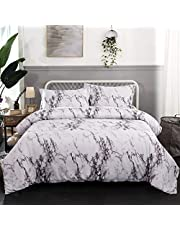 Marble Quilt Cover Set Bedding Set with Minimal Style Modern Reversible Duvet Cover