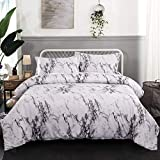 Marble Duvet Cover Twin White Gray Bedding Set Hypoallergenic Microfiber Modern Comforter Cover with Zipper Closure and Corner Ties for Girls Teens Adults