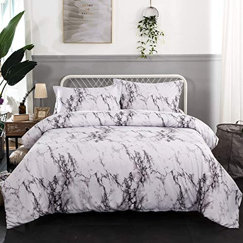 Marble Duvet Cover Full, 3 Pieces White Marble Printed Bedding Duvet Cover Set with Zipper Closure, Ties - Ultra Soft Lightweight Microfiber 90