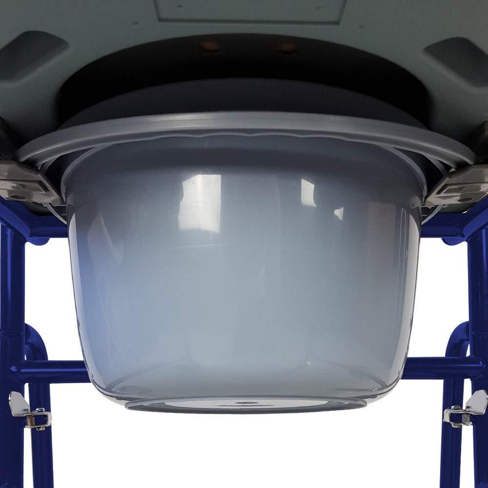 Barco Braccioli ribaltabili e poggiapiedi estraibili Sedia WC con ruote e coperchio Mobiclinic Blu