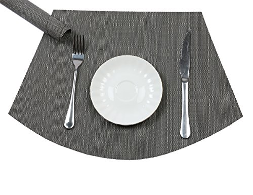 PAUWER Wedge Placemats for Round Tables Heat Insulation Stain-resistant Washable Vinyl Round Table Placemats Set of 6 (Grey) by PAUWER (Image #6)