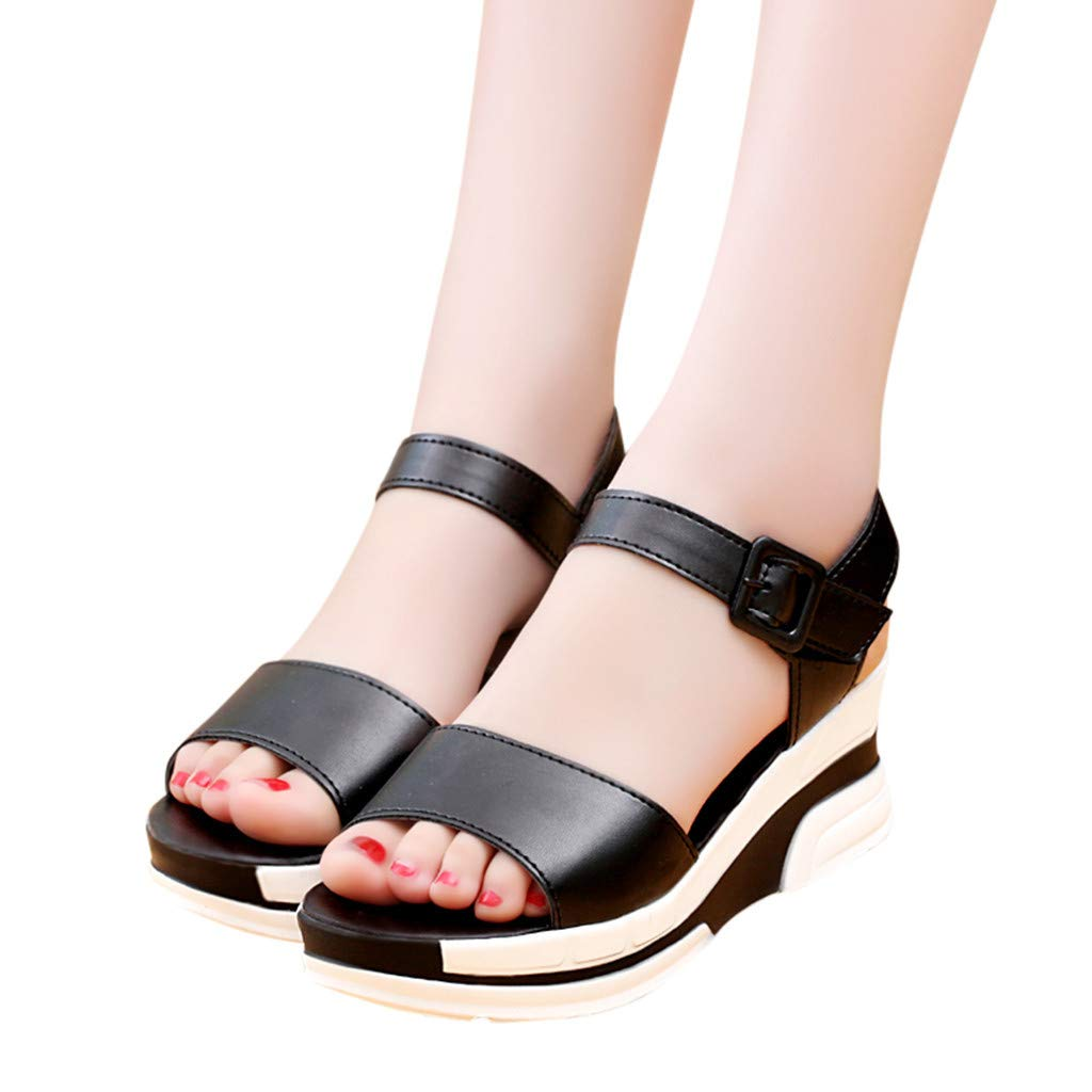 Thenxin Summer Solid Heel Sandals with Flat-Bottomed Muffin Platform Women Shoes for Work (Black,7 US) by Thenxin (Image #4)