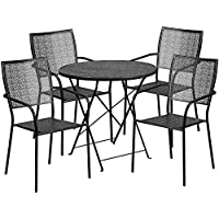 Flash Furniture 30 Round Black Indoor-Outdoor Steel Folding Patio Table Set with 4 Square Back Chairs