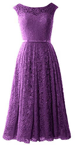 Formal Macloth Eggplant Gown Homecoming Wedding Sleeve Lace Caps Party Prom Dress Midi rwrPz7q