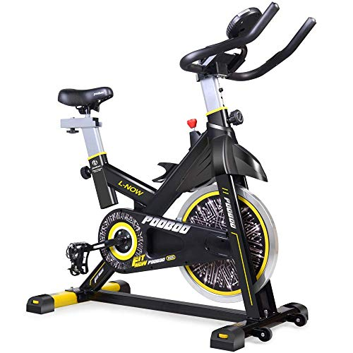 pooboo Indoor Cycling Bicycle, Belt Drive Indoor Exercise Bike,Stationary Exercise LCD Display Bicycle Heart Pulse Trainer Bike Bottle Holder