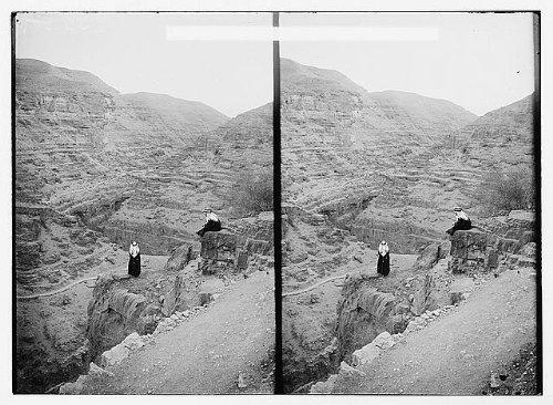 HistoricalFindings Photo: Arab Men Looking Over a deep wadi,Possibly Wadi Kelt,Qilt,Middle East,c1910