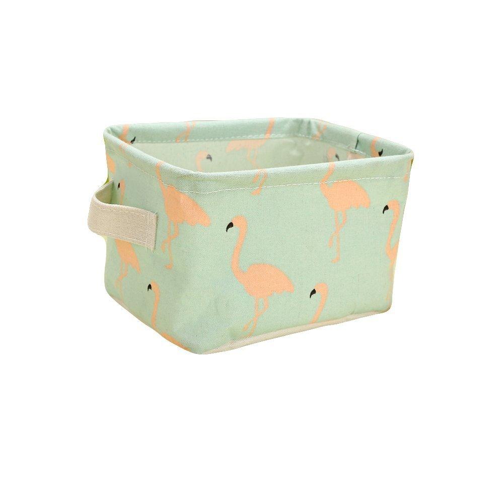Westeng 1X Caja de almacenamiento de tela Mesa Organizador Cajón de tela Con mangos y Patrón de Flamingos para papelería y maquillaje(Verde)