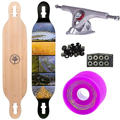 "Woodstock Mojo 41.5"" Bamboo Longboard Complete with Paris Raw Trucks Abec 9 Bearings and Brainwave Wheels"
