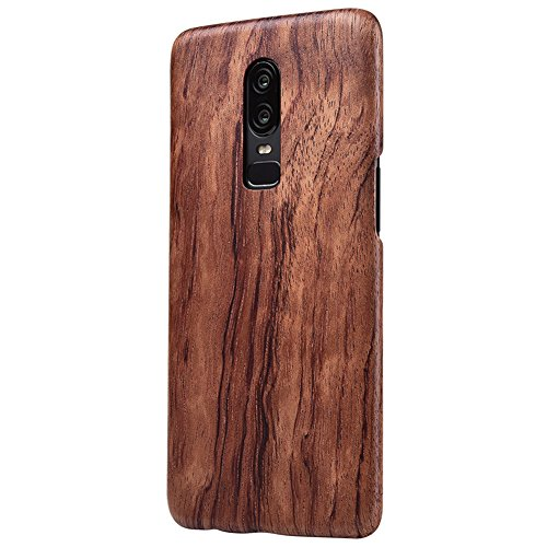 OnePlus 6 Wood Case,DAYJOY Luxury Ultra Thin Ultra Light Genuine Real Wood Wooden Shockproof Hybird case Cover for OnePlus 6 (C)