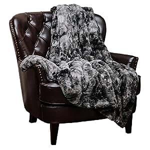 "Chanasya Faux Fur Bed Throw Blanket - Super Soft Fuzzy Cozy Warm Fluffy Beautiful Color Variation Print Plush Sherpa Microfiber Gray Blanket (50"" x 65"") - Charcoal Gray"