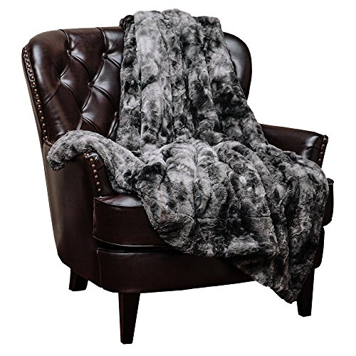 Chanasya Super Soft Fuzzy Fur Faux Fur Cozy Warm Fluffy Beautiful Color Variation Print Plush Sherpa Dark Gray Fur Throw Blanket (50' x 65') -Charcoal Gray Waivy Fur Pattern