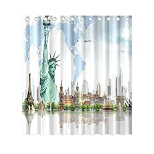 New York The Statue of Liberty and the Eiffel Tower 60inch by 72inch Polyester Shower Curtain One Side Design Only