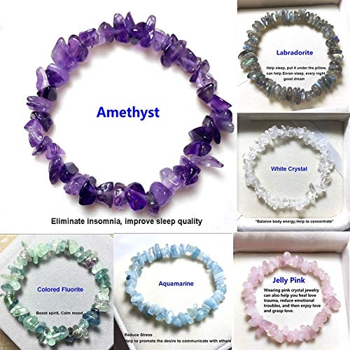 My Dinner 1PCS, 20+Colors Natural Crystal Chakras Bracelet Natural Gemstone Chips Jewelry Bracelet Amethyst Black Agate Carnelian Yellow Crystal Clear Crystal Aquamarine Green Aventurine (Adjust