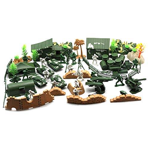 90PCS Plastic Model Playset Toy Soldiers Action Figures Army Men Accessories Army Radar Tank Barrier Set Kid Children ()