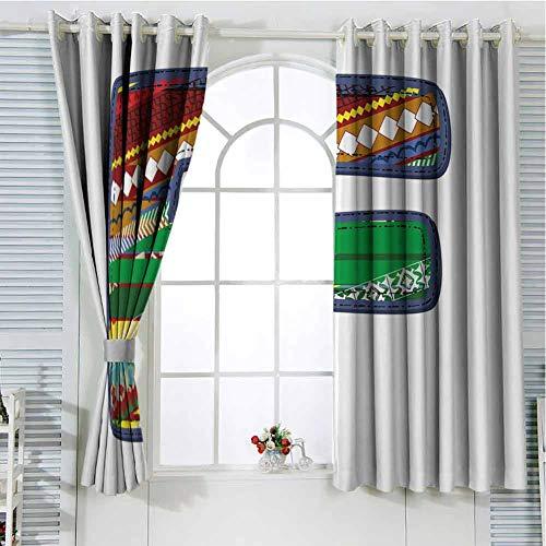 Jinguizi Grommet Window Curtain Kids Curtains Letter F,Alphabet Element The Letter F Cartoon Drawing Style Vintage Retro Geometric Design,Multicolor soundproof Curtain 108 x 72 inch (Shower Curtain With Letter F)