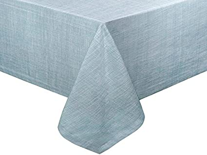 Sweet Home Collection Café Deauville Chambray Vinyl Oblong Table Cloth Flannel Back, 52 x 70, Ivory 52 x 70 CAFE-D-52X70-697-IVR