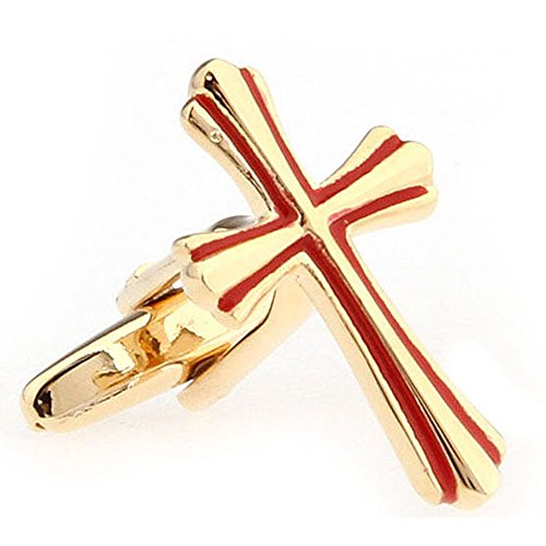 Link Religious Cross - Men's Executive Gold Tone Red Detail Religious Cross Cufflinks Cuff Links