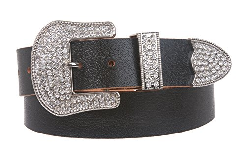 Western Rhinestone Buckle Plain Leather Belt, Black | M - 36 (Western Rhinestone Black Belt)