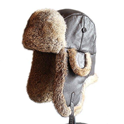 FURTALK Vintage Leather Rabbit Fur Aviator Hat XL (Leather Trapper Hat)