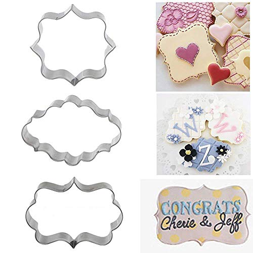 Bhbuy 3pcs Decorating Plaque Frame Stainless Steel Cutter Fondant Cake Mold Mould Set
