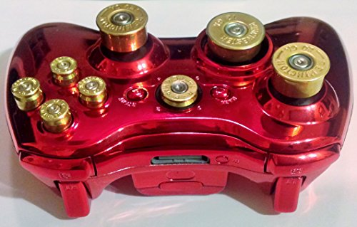 Photo - Microsoft Xbox 360 Wireless Controller+Metallic Red Hydro Dipped Shell+9mm Brass abxy Bullet Buttons+Guide Bullet Button+20g Brass Shotgun Shells Analog Thumbsticks+12g D Pad+Free Expedited Shipping