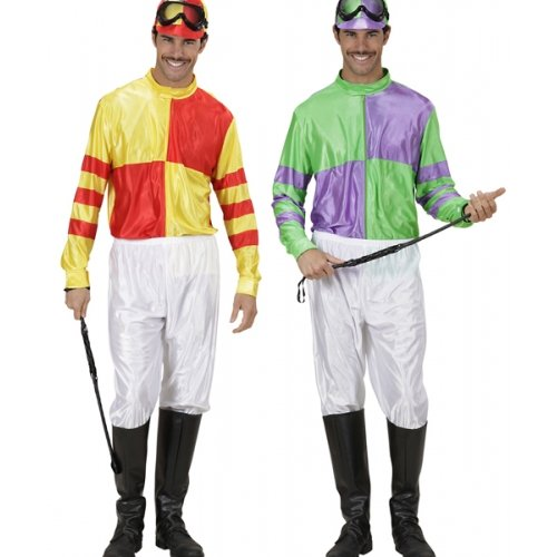 Jockey Red/yell & Grn/ppl Costume Large For Horse Riding Sport Fancy Dress]()