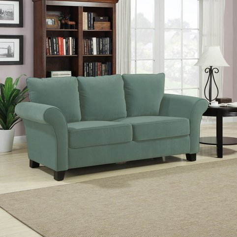 Portfolio Provant Turquoise Blue Velvet Loveseat Modern Transitional Sofa Living Room Settee Comfortable Cushioning and Wooden Legs by Perry Ellis