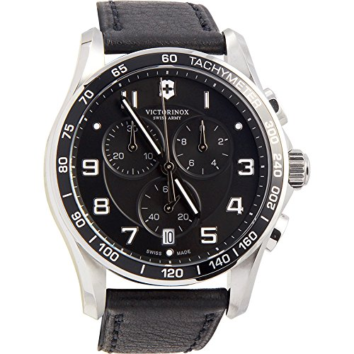 - Victorinox Chrono Classic Grey Dial Leather Strap Men's Watch 241657