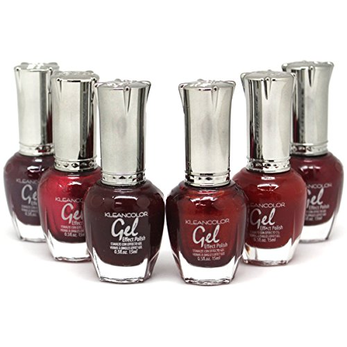 KLEANCOLOR Gel Effect Nail Polish Lacquer Full Size 'BLACK CHERRY' Collection -6 pc Set