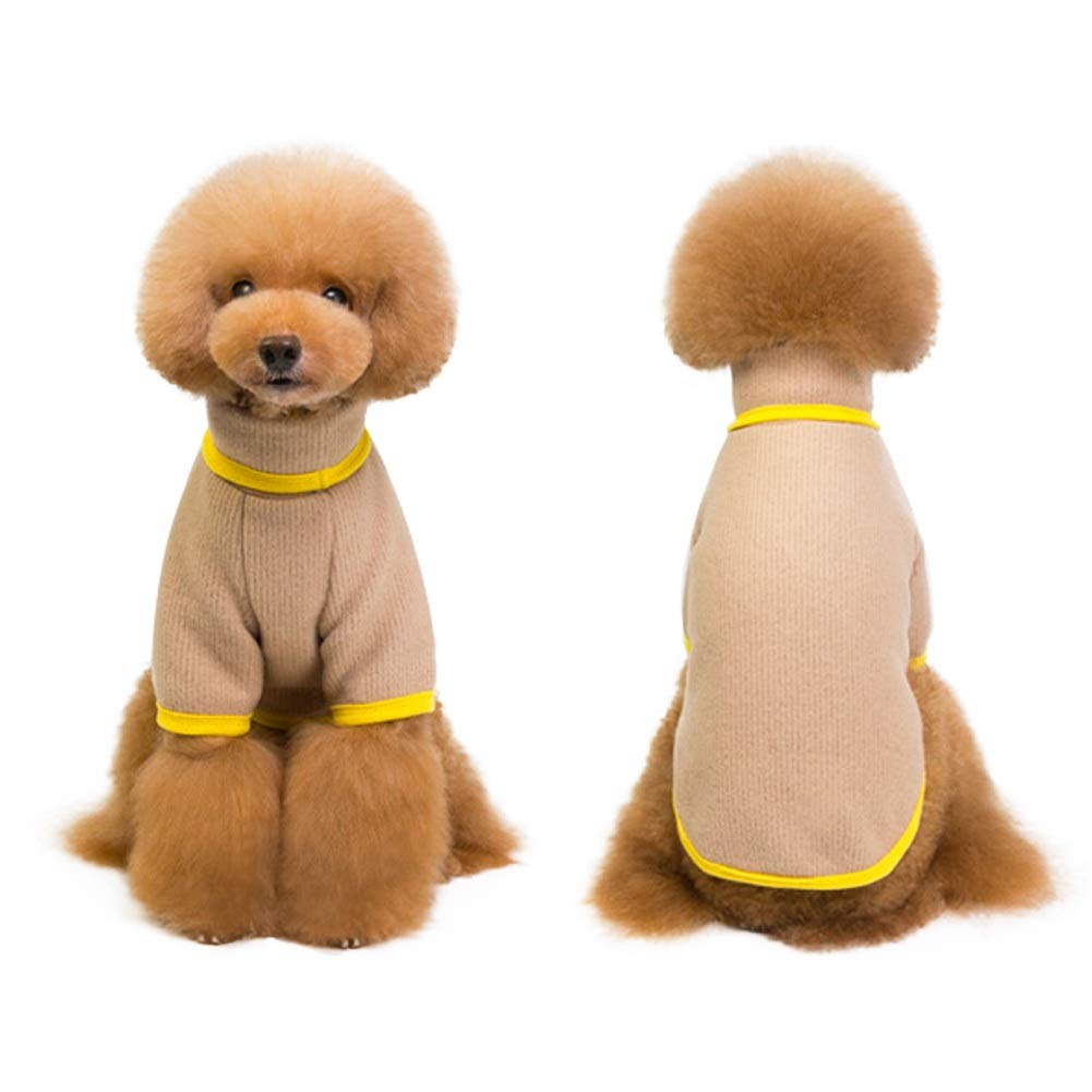Beige Size M  Chest Girth 15\ Beige Size M  Chest Girth 15\ Dog Sweater,Solid color Tutleneck Dog Sweaters Knitwear Apparel,Pet Sweatshirt Clothes Dog Wool Warm Soft Sweaters for Cold Weather, Puppy Warm Winter Coat for Small Medium Large Dogs
