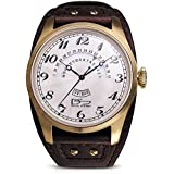 Daniel Steiger Vintage Boston Gold & White Watch - Wide Cuff Style Brown Leather Strap - Day & Retrograde Date Features - White Textured Dial