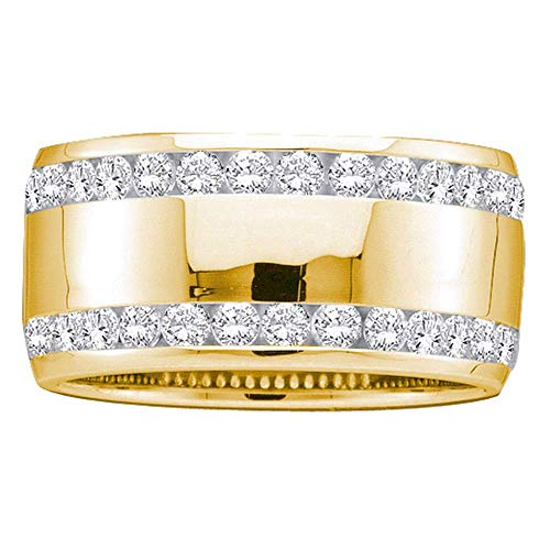 The Diamond Deal 14kt Yellow Gold Womens Round Diamond Double Row Eternity Wedding Band 1.00 Cttw