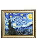 "Eliteart-- Starry Night By Vincent Van Gogh Oil Painting Reproduction Giclee Wall Art Canvas Prints-Framed Size:21 3/8""x25 3/8"""