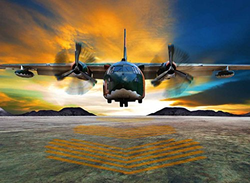 PigBangbang,Stained Art Jigsaw Puzzle Kids Adult Literate Jigsaw Puzzle 500 Piece 20.6 X 15.1''Made of iece Home Decoration-Airplane Take Off Dawn
